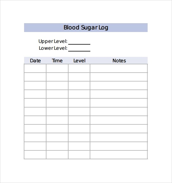 blood sugar level log example \u2013 Tips For Life
