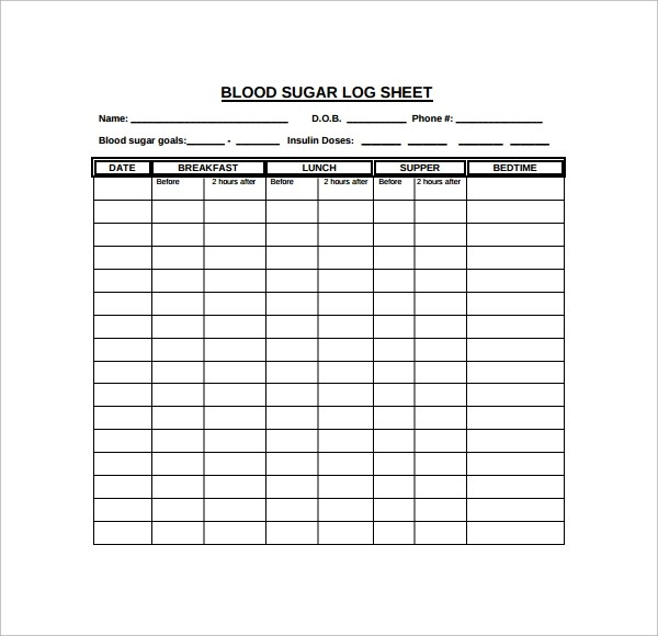 diabetic log sheet - Goalgoodwinmetals