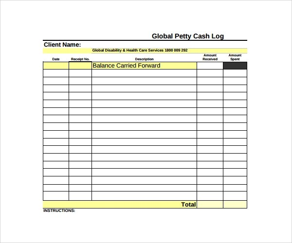Petty Cash Log Template For Excel | Word & Excel Templates