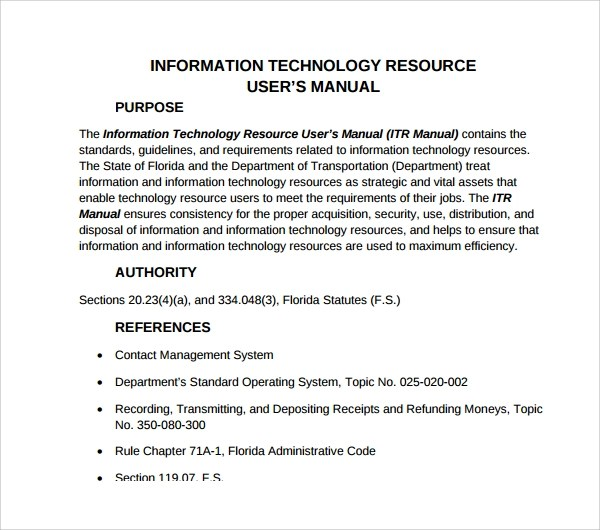 7 IT Manual Templates to Download Sample Templates