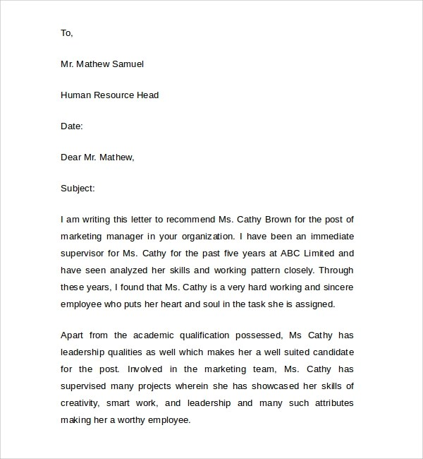 8 Manager Reference Letter to Download Sample Templates - manager reference letter