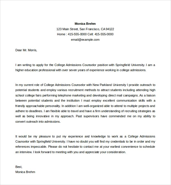 6 Admissions Counselor Cover Letters to Download Sample Templates - Application Letter Example