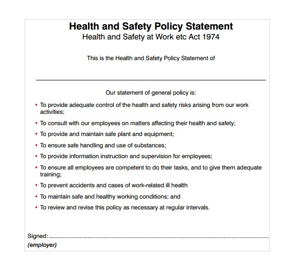 Sample Safety Statement Template - 9+ Free Documents in PDF