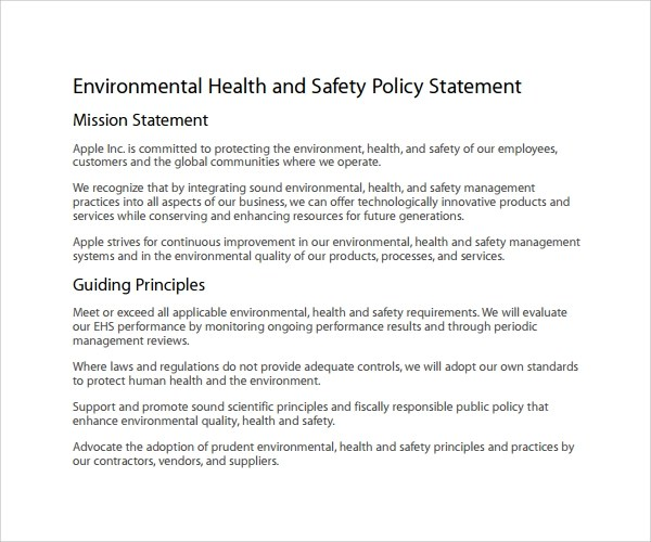 Sample Health and Safety Policy 9 Documents In PDF Word - mandegarinfo