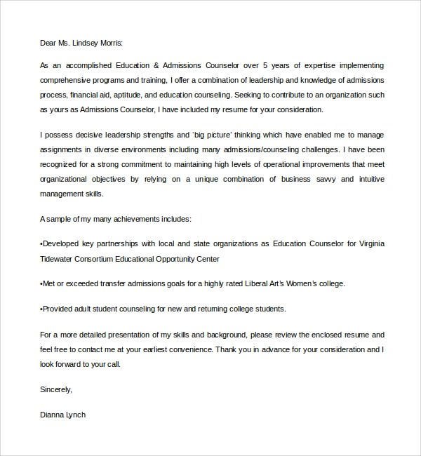 Collection Admission Counselor Cover Letter. Resume For Admissions
