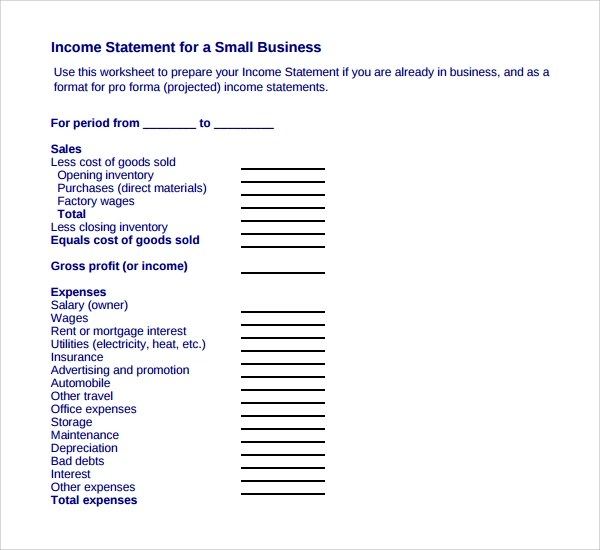 Doc.#510738: Business Income Statement Template – Income Statement