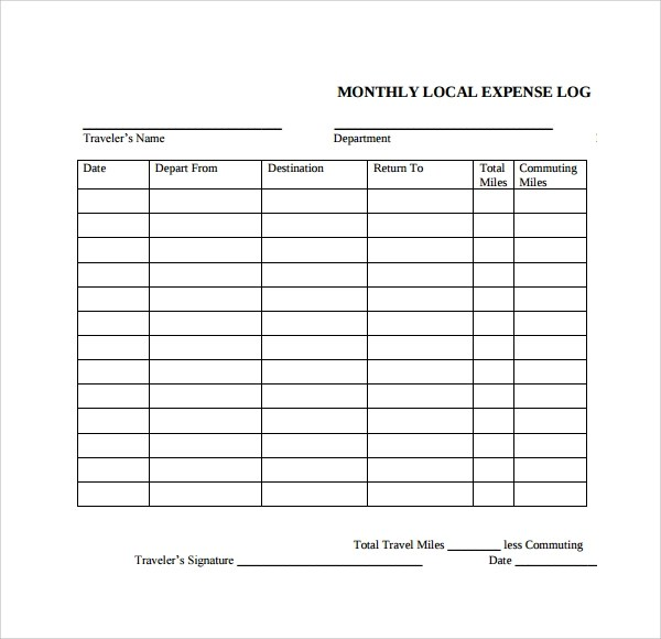 Vehicle Expense Log Template | Cv Layout British