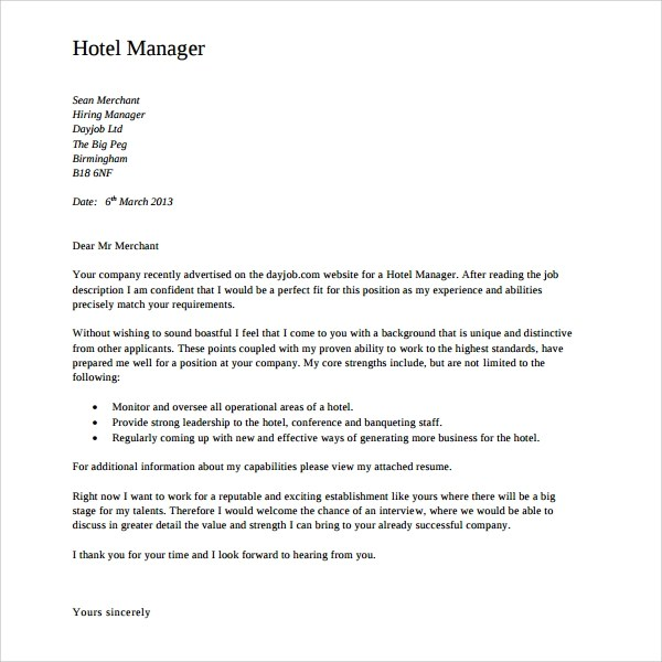 9 Director of Operations Cover Letters to Download Sample Templates - management cover letter for resume