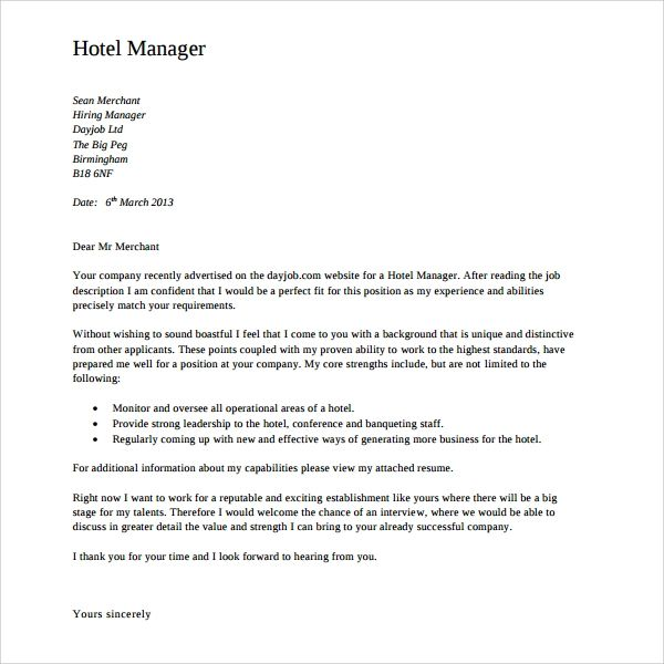 cover letter examples operations manager