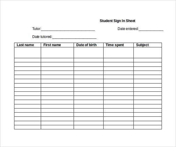 Sign In Sheet Template For Students | Cover Letter Template Proposal