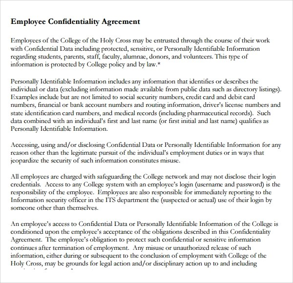 9+ Employee Confidentiality Agreements Sample Templates