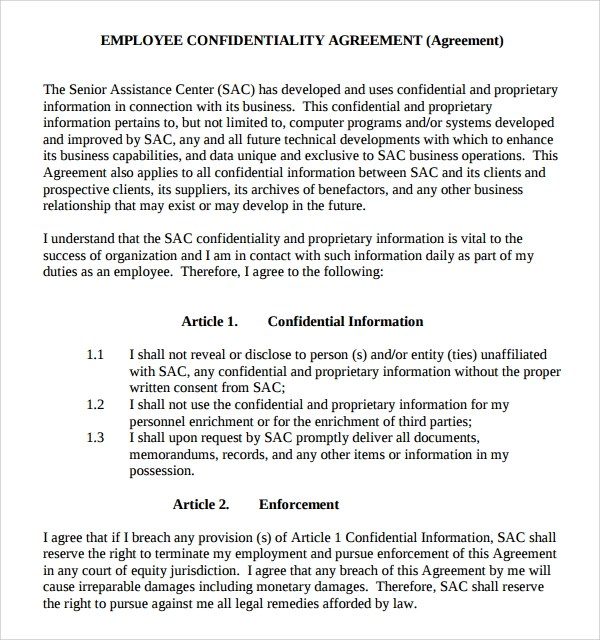 Sample Employee Confidentiality Agreement - 9+ Free Documents