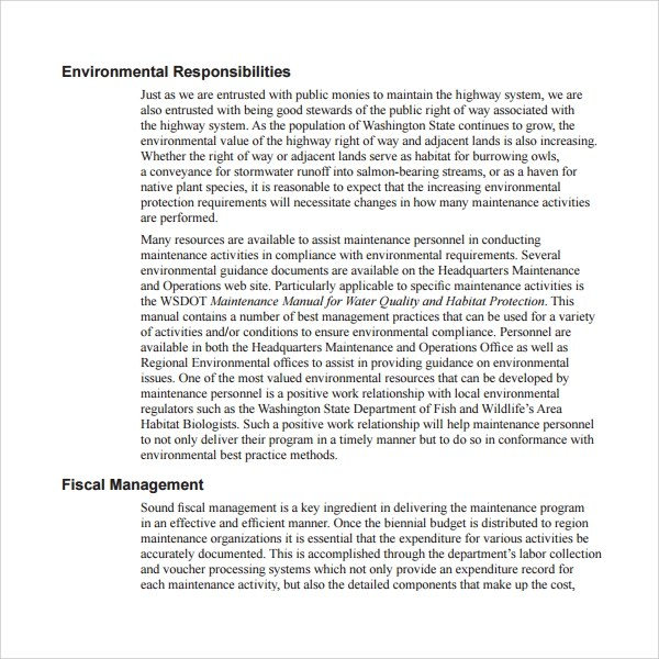 Maintenance manual template