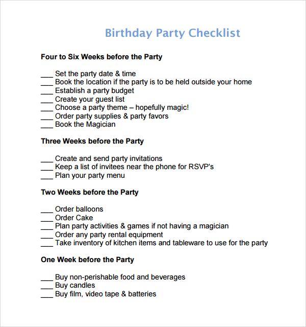 birthday party planning checklist template - birthday party planning checklist template