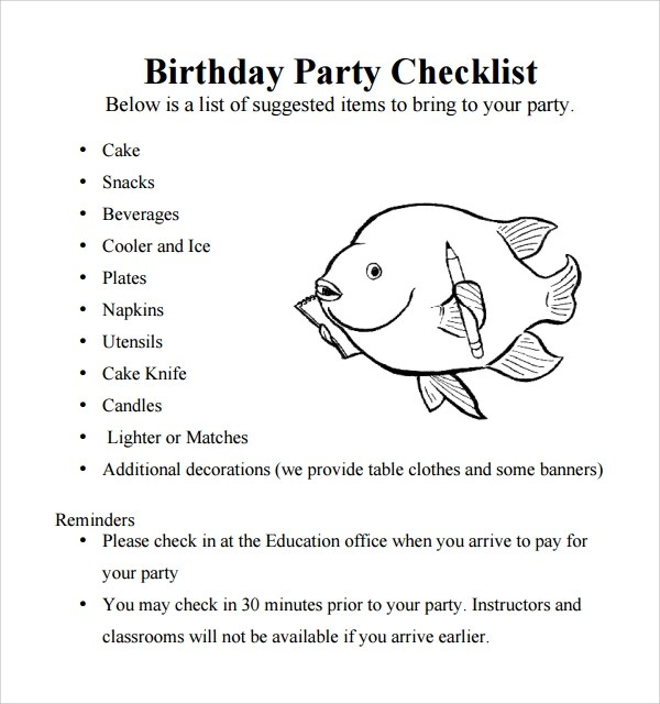 Sample Birthday Party Checklist Template - 6+ Free Documents in PDF - party proposal template