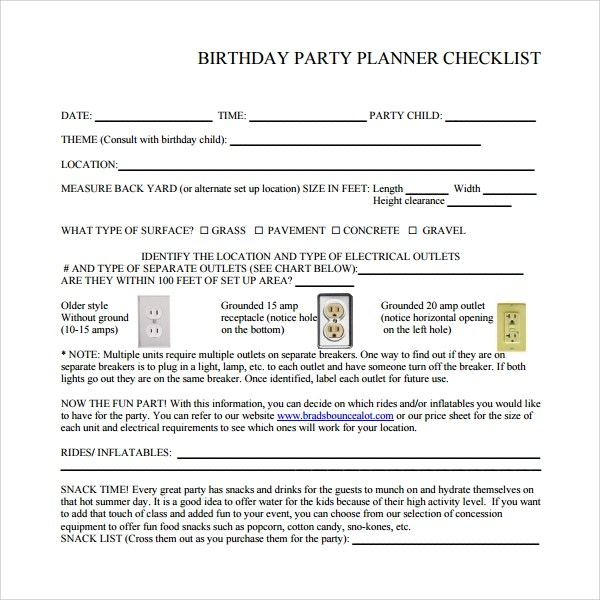 7 Birthday Party Checklist Templates to Download Sample Templates