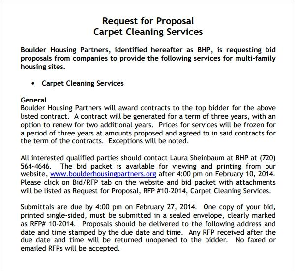 commercial cleaning bid proposal
