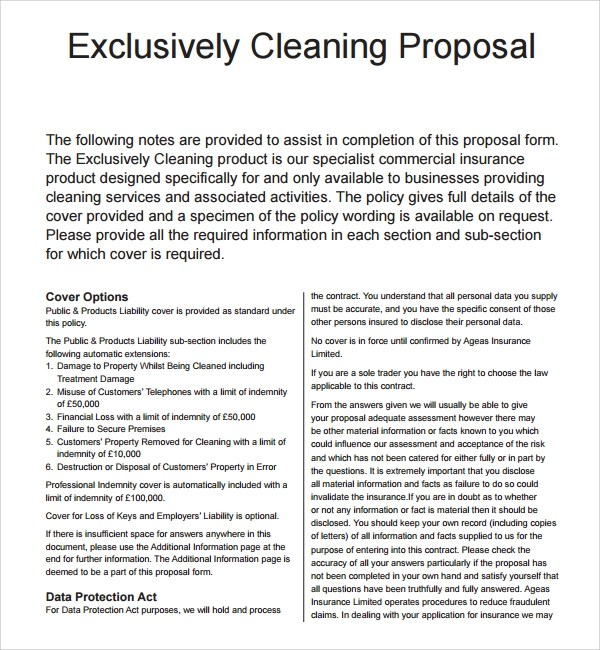 13+ Cleaning Proposal Templates \u2013 PDF, Word, Apple Pages, Adobe - cleaning services proposal template