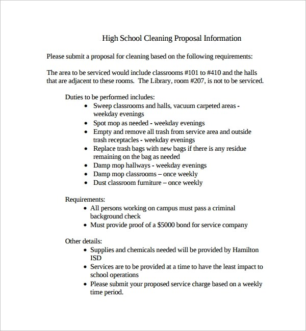 Sample Cleaning Proposal Template - 13+ Free Documents in PDF - professional proposal template