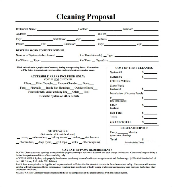 13+ Cleaning Proposal Templates \u2013 PDF, Word, Apple Pages, Adobe
