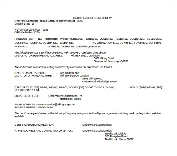 Sample Conformity Certificate Template - 8+ Free Documents in PDF - certificate template doc