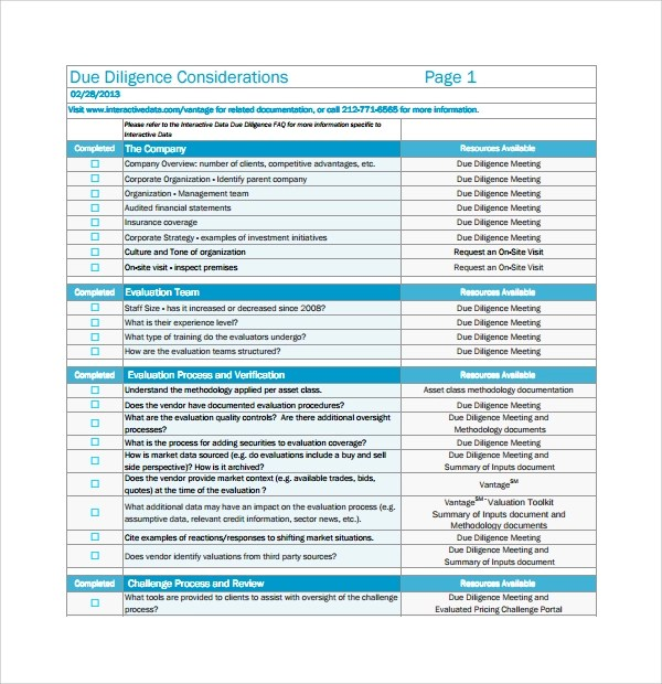 Checklist Template For Hr – Due Diligence Checklist Template