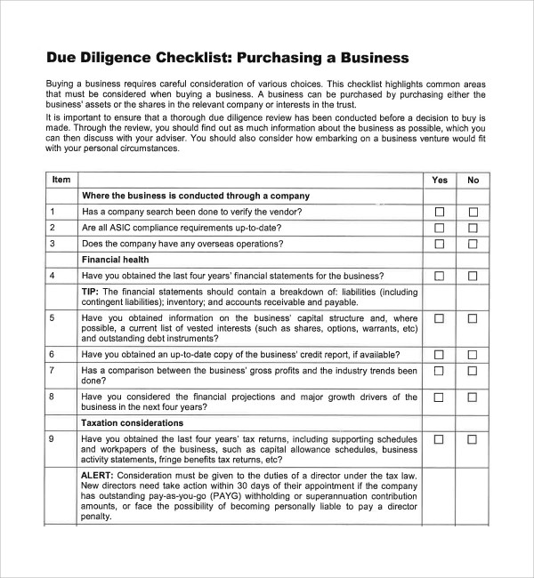 Sample Due Diligence Checklist Template - 8+ Free Documents in PDF, Word
