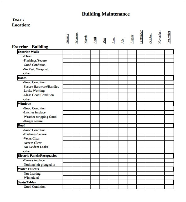 22+ Maintenance Checklist Templates - PDF, Word, Pages, Portable