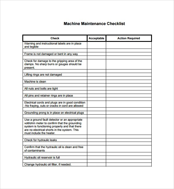 17+ Maintenance Checklist Templates \u2013 PDF, Word, Pages, Portable