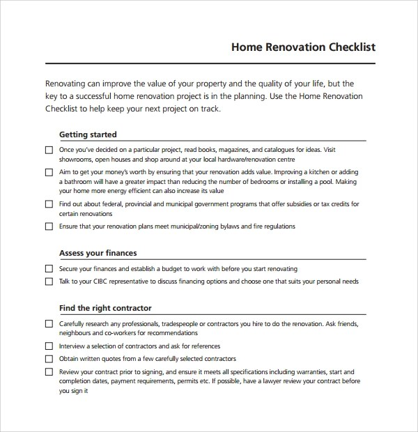 Sample Renovation Checklist Template - 9+ Free Documents in PDF - remodeling contract template