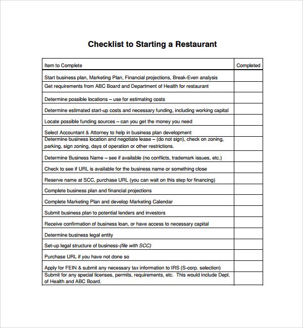 Sample Restaurant Checklist Template - 14+ Free Documents in PDF, Word - business startup checklist