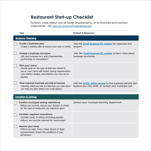 14 Restaurant Checklist Templates to Download Sample Templates