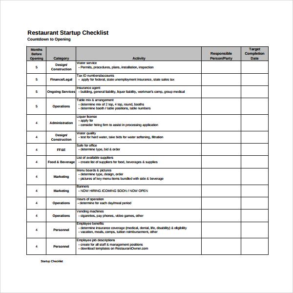 14 Restaurant Checklist Templates to Download Sample Templates - restaurant checklist template