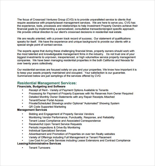 Sample Property Management Proposal Template - 14+ Free Documents in - property management proposal template