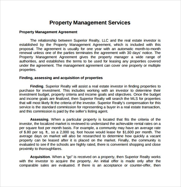 14+ Property Management Proposal Templates to Download Sample - free sales proposal template