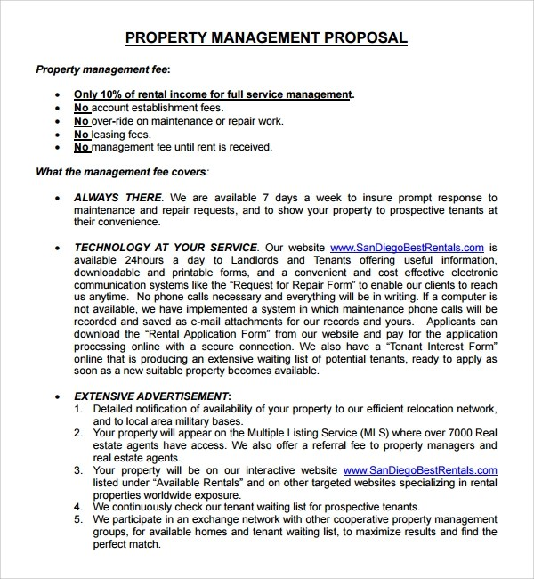 Sample Property Management Proposal Template - 9+ Free Documents - rental management template