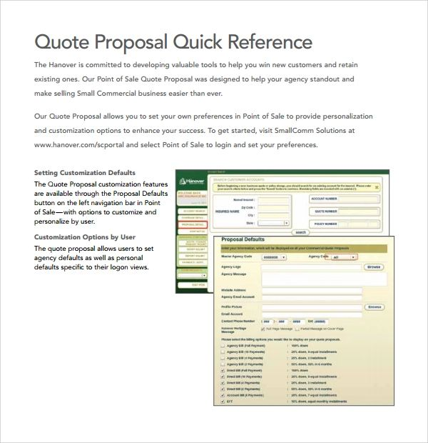 proposal quote template