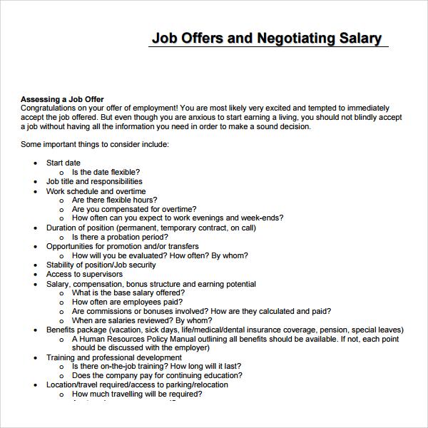8+ Salary Proposal Templates Sample Templates