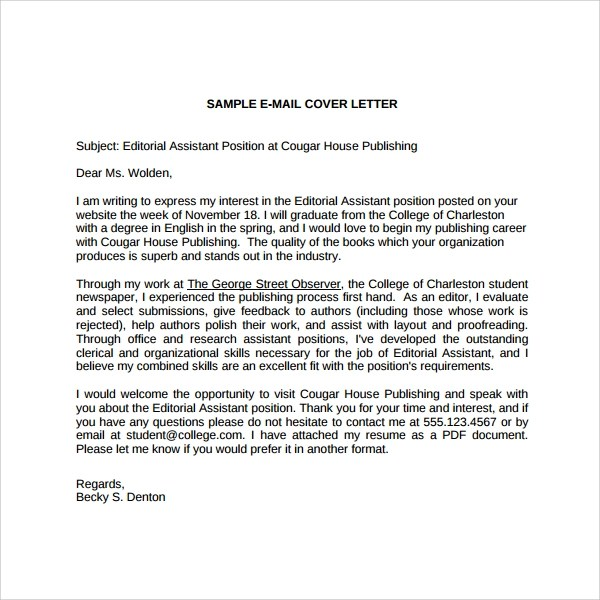 Sample Editorial Assistant Cover Letter Template - 6+ Free Documents