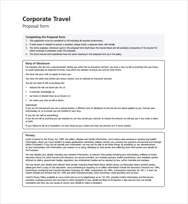 Sample Business Proposal Travel Agent