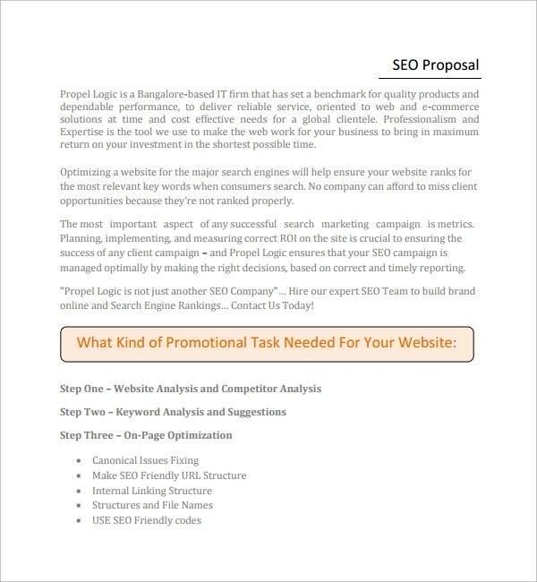 Sample SEO Proposal Template - 9+ Free Documents in PDF, Word - client proposal sample