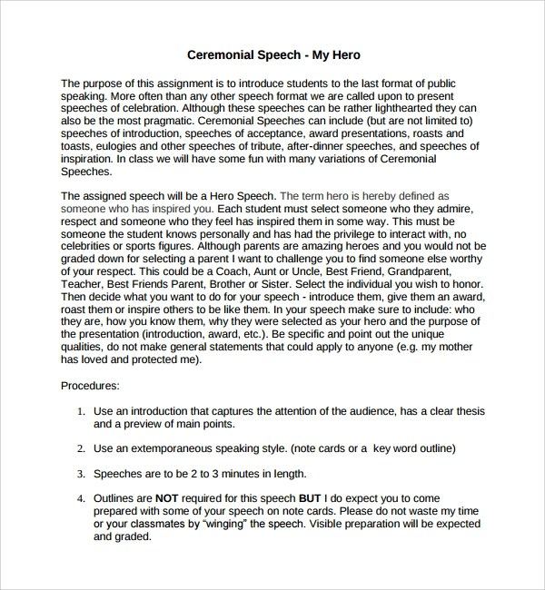 9+ Ceremonial Speech Example Templates Sample Templates - Introduction Speech Example