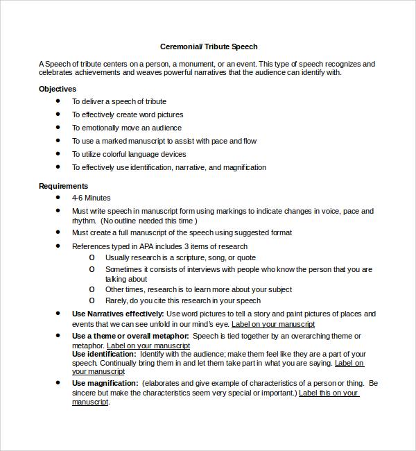 9+ Ceremonial Speech Example Templates Sample Templates - tribute speech examplestraining evaluation form