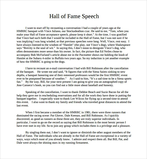 10+ Acceptance Speech Example Templates Sample Templates