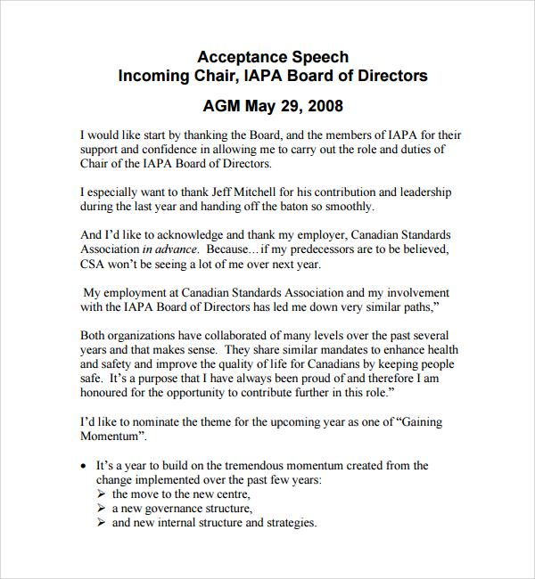 Acceptance Speech Example Template Introduction Speech - acceptance speech example template