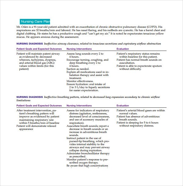 Sample Nursing Care Plan Template - 8+ Free Documents in PDF, Word