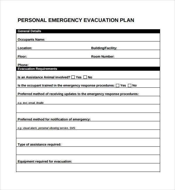 Evacuation plan templates for Occupant emergency plan template