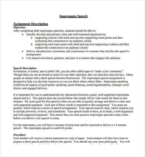 Sample Impromptu Speech Template - 7+ Free Documents in PDF, Word