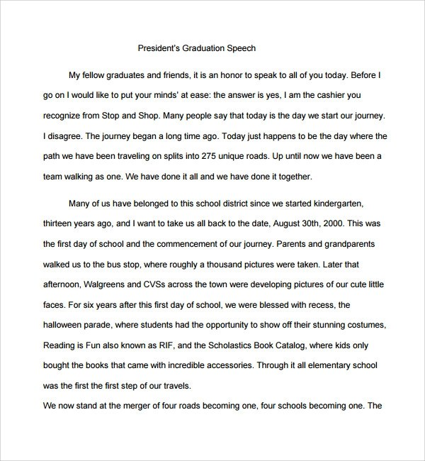 Sample Graduation Speech Example Template 10 Free