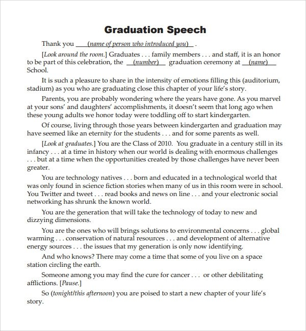 Sample Graduation Speech Example Template - 10+ Free Documents in